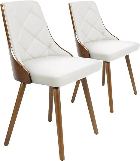 Menzzo Lalix – Juego de 2 sillas de Estilo escandinavo en Poliuretano y Madera de avellano, Blanco, 53 x 48 x 79 cm: Amazon.es: Hogar
