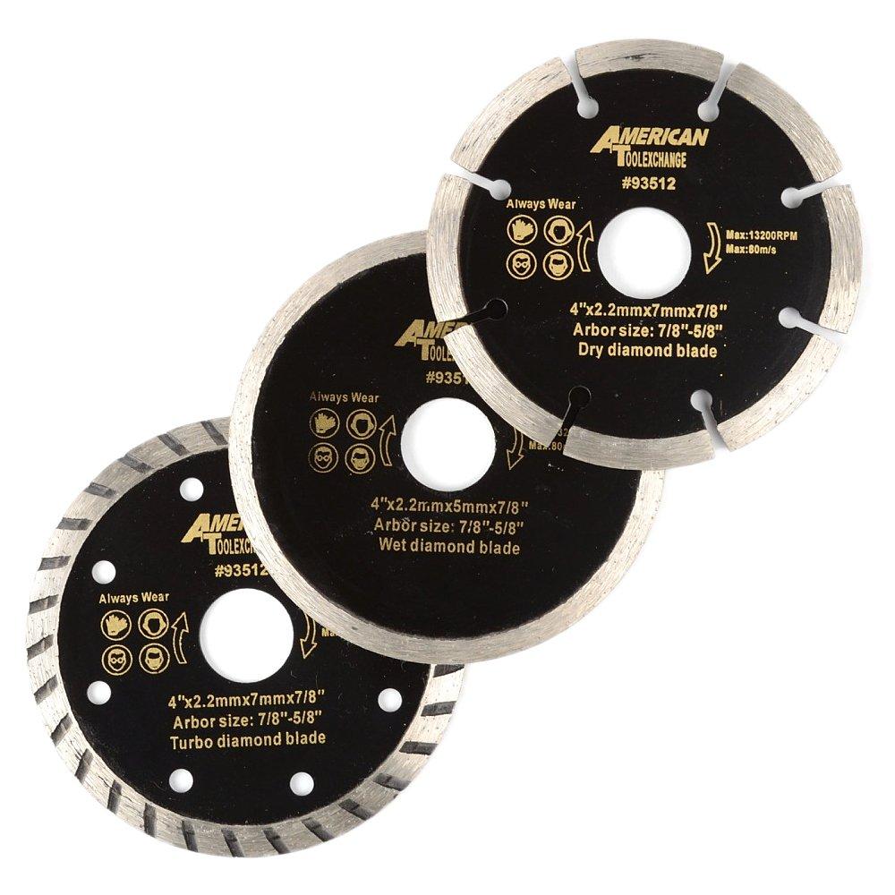 ATE Pro. USA 93512 Wet Dry Turbo Diamond Blade (3 Piece), 4''