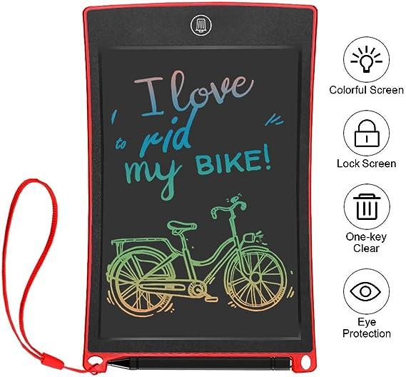 子供と大人(青)のための8.5インチLCDライティングタブレット、電子ライティング描画落書きボードタブレットデジタルEwriterパッドオフィスホーム学校手書きパッドメモノートブック、 lsmaa (Color : Red)