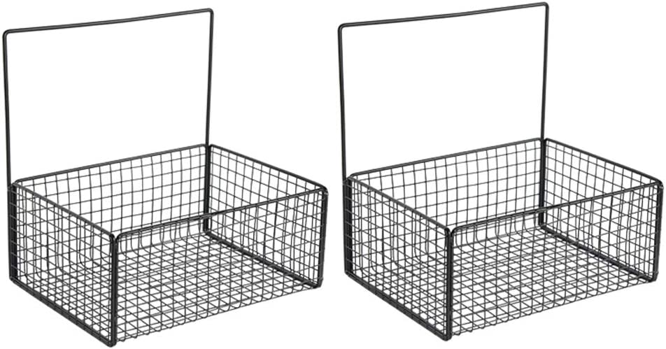 Wall File Holder, Metal Wire Magazine Holder,Hanging Storage Organizer Holder Basket,Wall Mount Newspaper and Magazine Rack for Office Kitchen Bathroom-2 Pack Black 27x20x27cm(11x8x11inch)