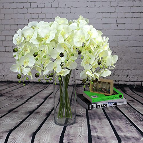 YYF 10pcs Artificial Flowers Silk Phalaenopsis Orchid Stem Bouquets Fake Flowers for Wedding Party Home Garden (Silk Orchids Bouquets)