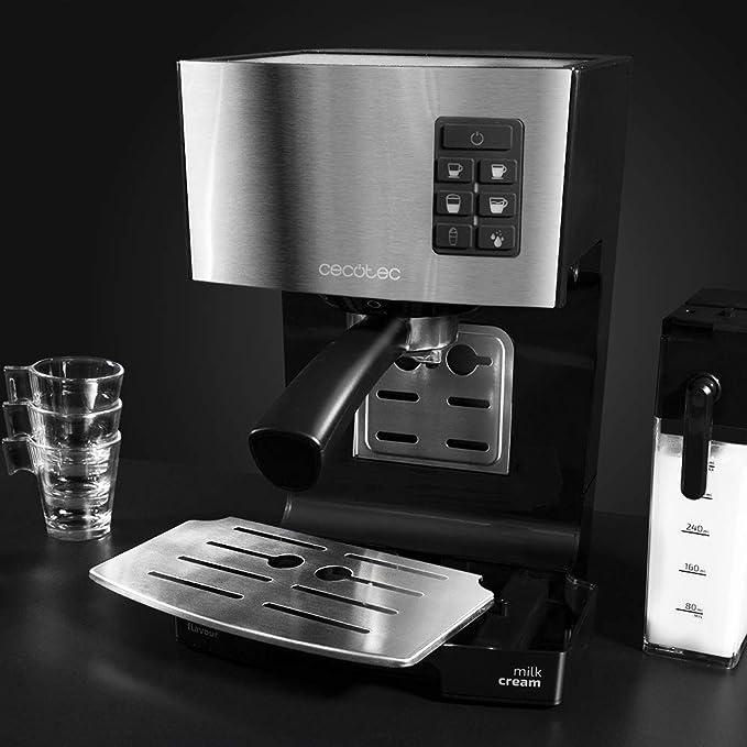 Cecotec Cafetera Semiautomática Power Instant-ccino 20. con Tanque de Leche. Cappuccino en un Solo Paso. 20 Bares de Presión y Sistema Thermoblock.