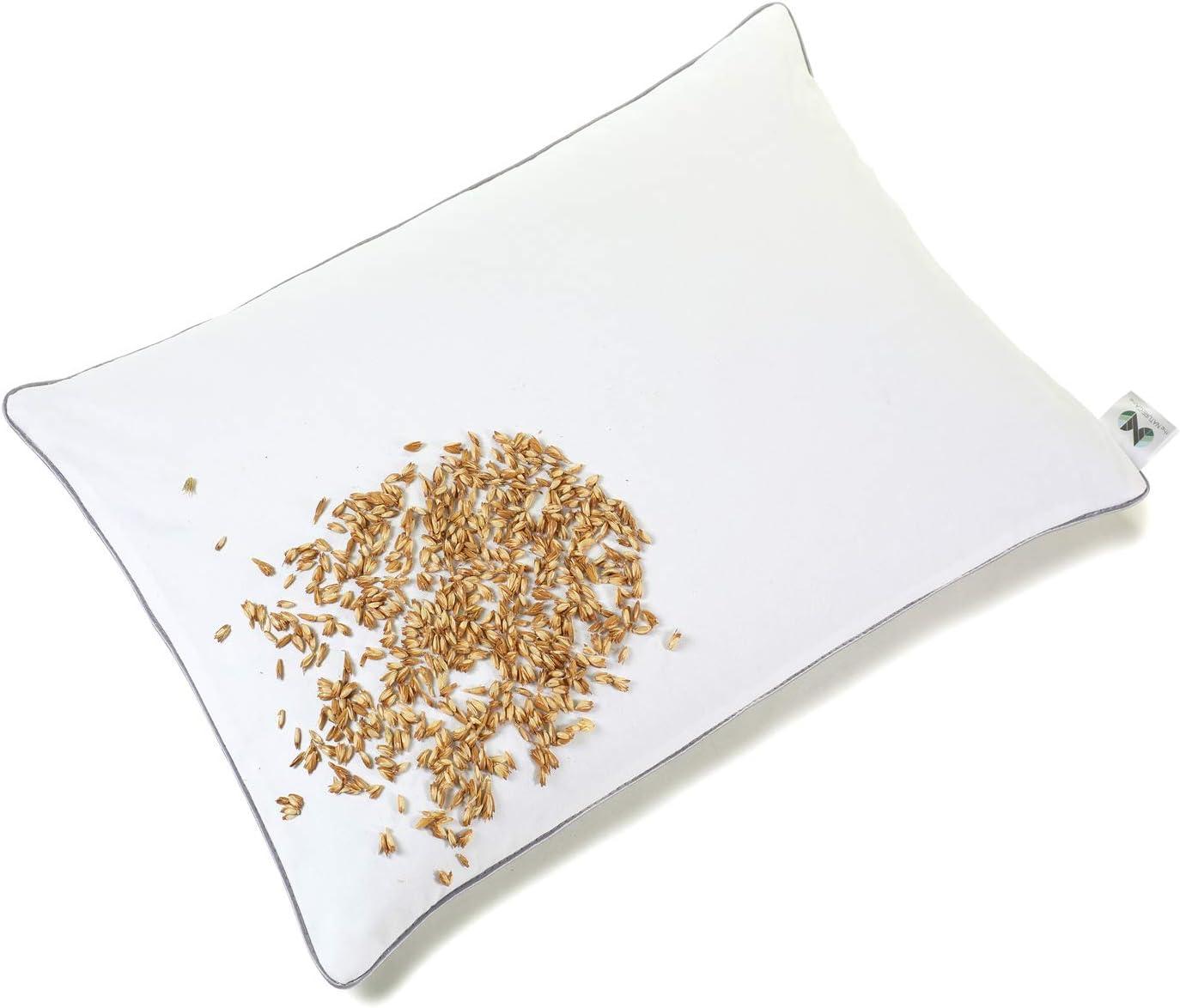 NATURECA Almohada de espelta de 30 x 40 cm, cáscara de espelta orgánica, con funda de algodón, ortopédica, para niños y adultos