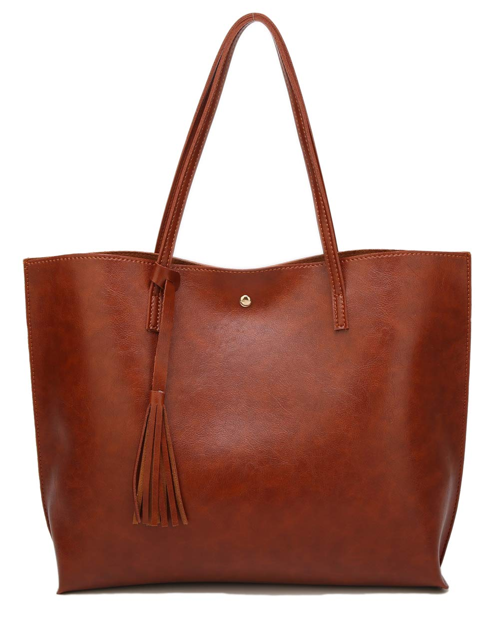 Women's Soft Leather Tote Shoulder Bag from Dreubea, Big Capacity Tassel Handbag Brown (New Style)