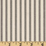 Vertical Ticking Stripe Ivory Charcoal Fabric By The Yard
