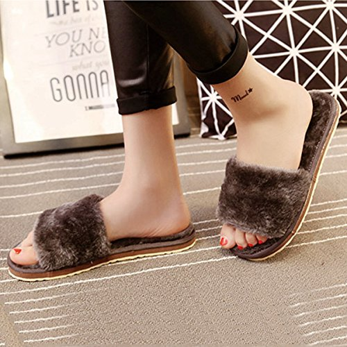 Funoc Dames Winter Faux Fur Zachte Glijbaan Platte Fleece Slipper Flip Flop Slippers Indoor Home Grijs
