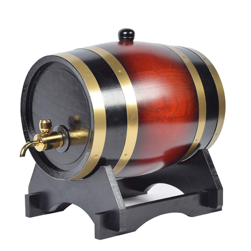 Yilian Jiutong Household Wooden Barrel Oak Barrel Wine Barrel Wine Barrel Wine Barrel Decoration red Wine Barrel Beer Barrel Wine (Color : Wine red, Size : 15L)