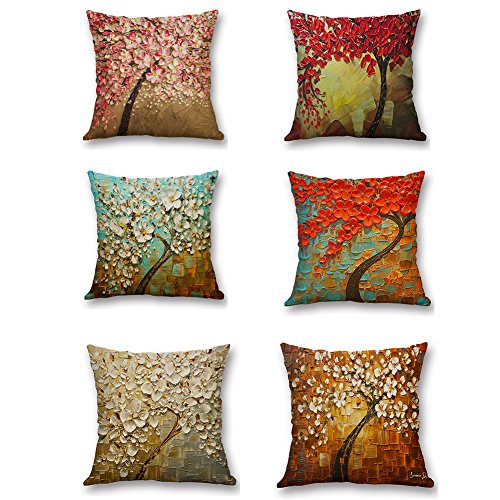 Versub Oil Painting Home Decorative Cotton Linen Throw Pillow Cover Cushion Case Square Pillowslip for Party Wedding Birds Flowers 18 X 18'' (18'' X 18'', Flower ()