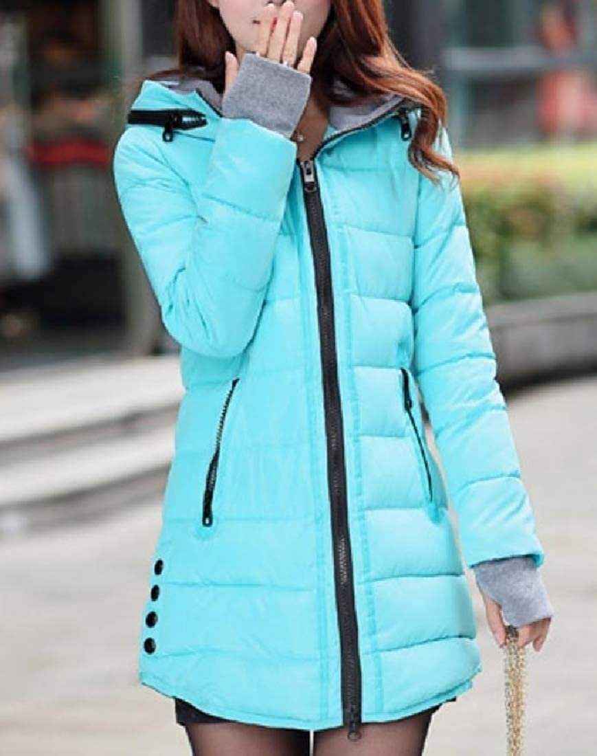 YUNY Women Hooded Overcoat Cotton-Padded Clothes Hit Color Down Parka Blue XL