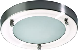 Litecraft Mari Flush Mounted IP44 Rated Modern Bathroom Ceiling Light in Stainless Steel (Small)
