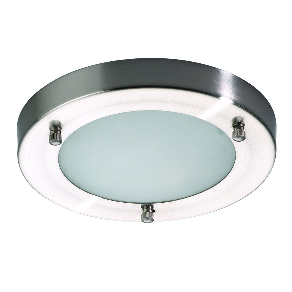 Mari Flush Mounted IP44 Rated Modern Bathroom Ceiling Light in Stainless Steel Choose New or Refurbished/Clearance Litecraft (Large) SPA-AJ-9681A