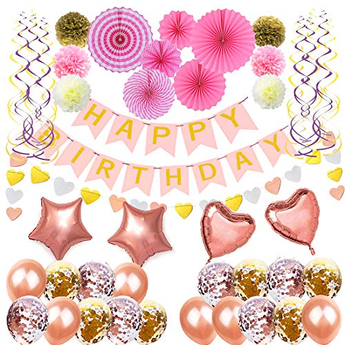 Pink Gold Party Decorations Decor Supplies - Happy Birthday Banner| Pom Poms| Party Balloons| Polka Heart Garland| Hanging Swirls| Tissue Fans, Elegant Party Decorations Birthday for girls and women.