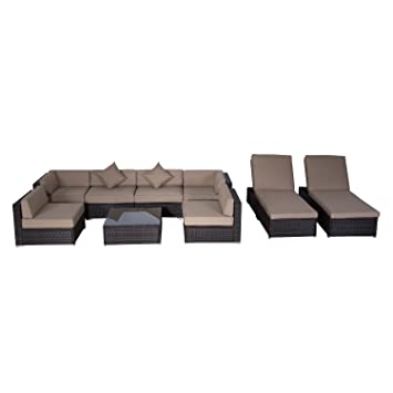 outsunny 9pc outdoor patio rattan wicker sofa sectional u0026 chaise lounge furniture set desert sand