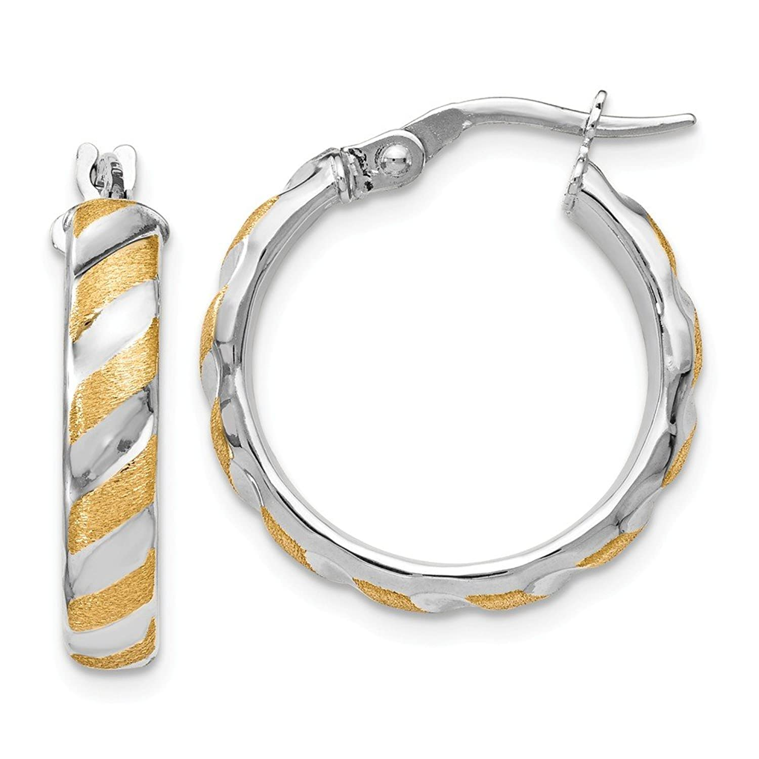 Best Birthday Gift Leslies 14k White Gold with Yellow Polished Textured Hoops