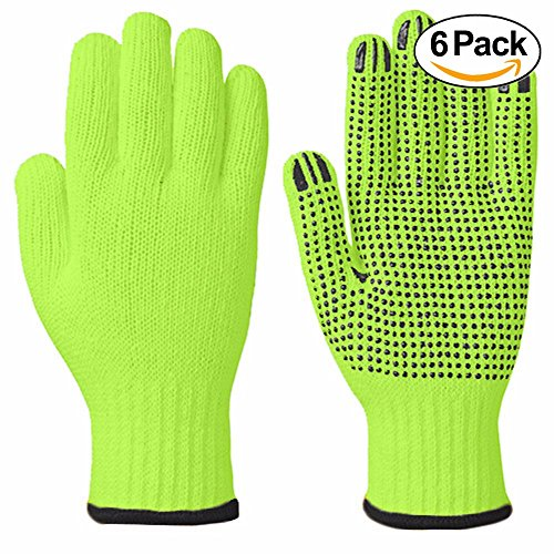 Wideskall High Visibiliby Large Cotton PVC Dots Grip String Knit Safety Work Gloves, 6 Pairs
