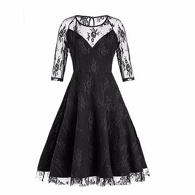 ba6bbb5cc2ee5 HWTOP Abendkleider Damen Halbarm New Vintage Spitze Formalen  Patchwork-Hochzeit Cocktail-Party Retro Swing-Kleid: Amazon.de: Bekleidung