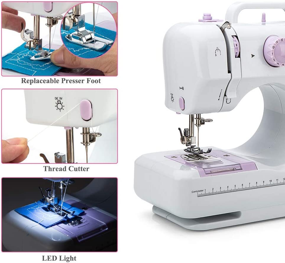 Sewing Machine by Galadim - Electric Overlock Sewing Machines 12 Stitches, 2 Speeds, LED Sewing Light, Foot Pedal Small Household Sewing Handheld Tool GD-015-AF