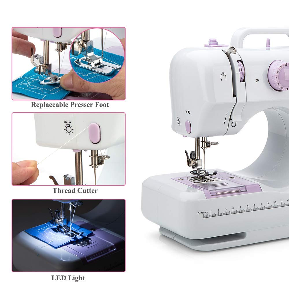 Small Household Sewing Handheld Tool GD-015-P 12 Stitches, 2 Speeds, LED Sewing Light, Foot Padal - Electric Overlock Sewing Machines Sewing Machine by Galadim