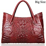 Pijushi Women Embossed Crocodile Handbag Designer Top Handle Handbags Holiday Gift 22198 (Red)