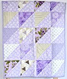 Puprle Shabby Chic Quilt - baby girl, lavender, minky , gold and purple, flowers, baby quilt, nursery