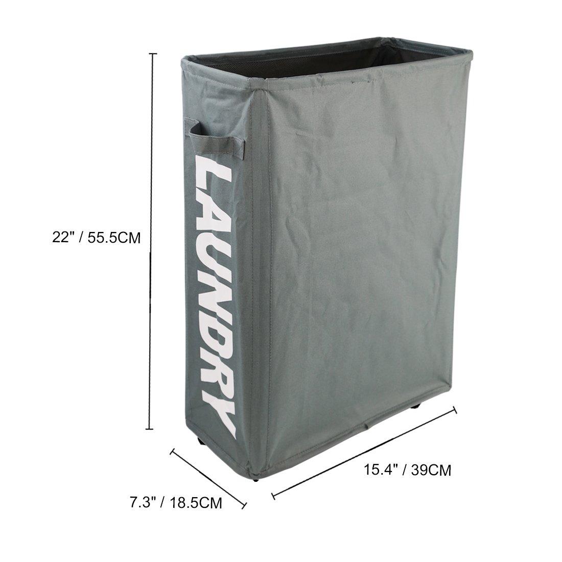 HOMIAK Slim para la colada con ruedas para ropa almacenamiento y organización, cesta para la colada con ruedas (7,3 x 23,6 x 15,7 pulgadas) (gris): ...