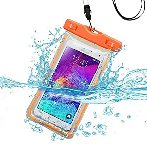 Premium Waterproof Sports Swimming Waterproof Water Resistant Lightning Carrying Case Bag Pouch for OPPO Mirror 5s/ Neo 5 (2015) (with Lanyard) (Orange) + MYNETDEALS Mini Touch Screen Stylus