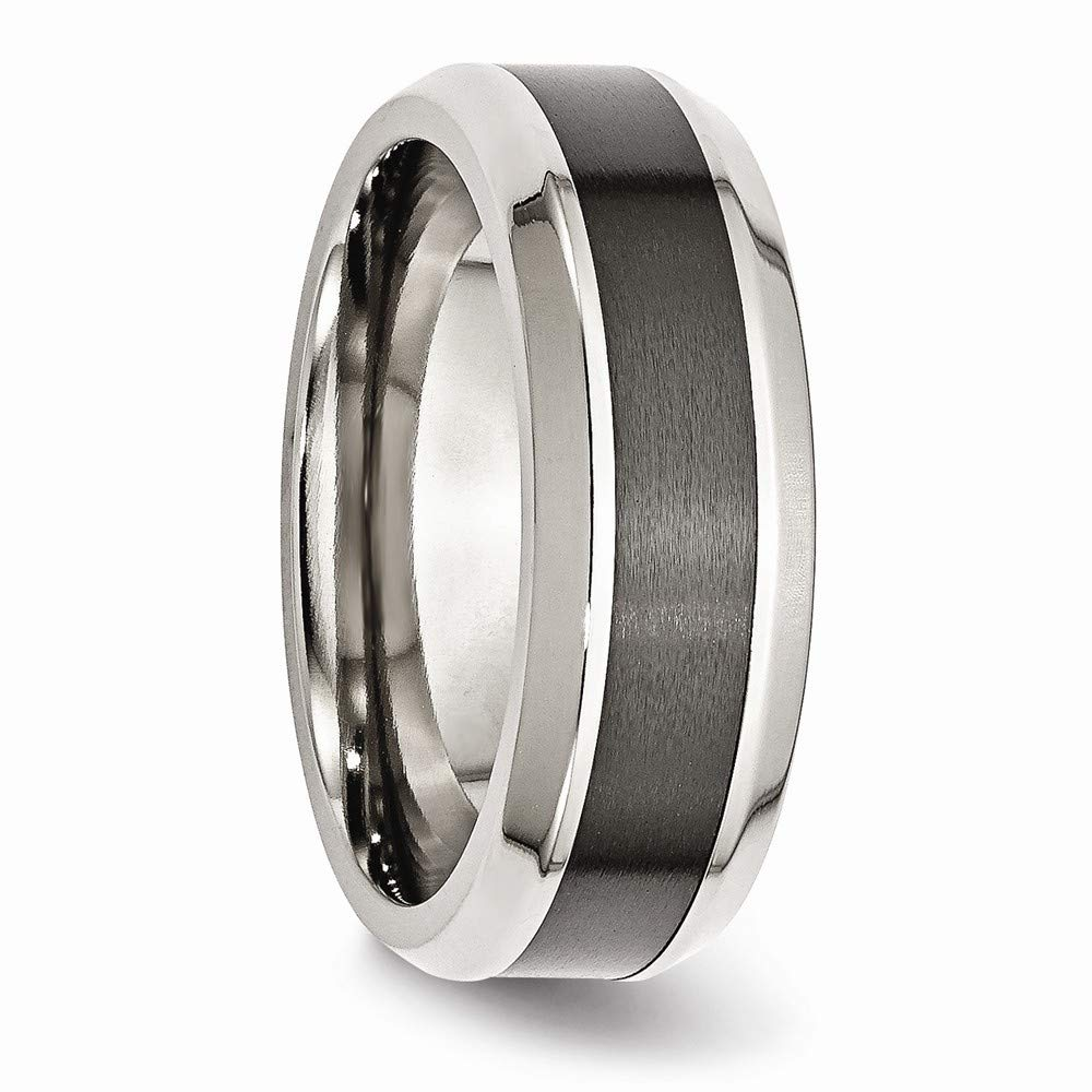 Ring Size Options 8mm Stainless Steel Engravable Beveled Edge Base with Polished Black Ceramic Center Beveled Band Ring 10 10.5 11 11.5 12 12.5 13 7 7.5 8 8.5 9 9.5