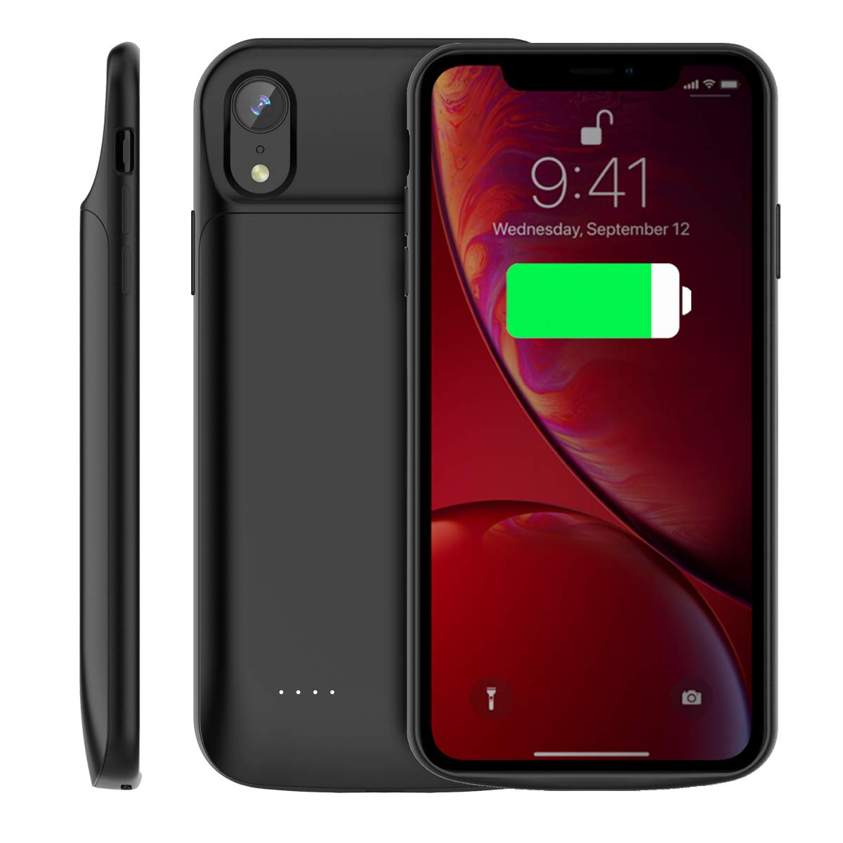 iPhone Xr Battery Case 6000mAh, Fusutonus Extended Charging Case Backup Battery Charger Protective Case [Durable Rechargeable Extended Battery Pack] Compatible iPhone Xr - Black