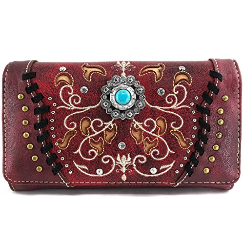 Justin West Concho Floral Embroidered Studded CCW Concealed Carry Shoulder Purse Handbag Wallet (Red Wallet Only)
