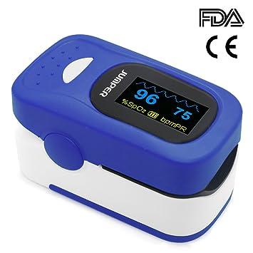 Jumper 500A Oxímetro de Pulso de Dedo Medidor de Pulso Portátil SpO2 (Saturación de Oxígeno en Sangre) y Monitor de Frecuencia Cardíaca (Azul): Amazon.es: ...