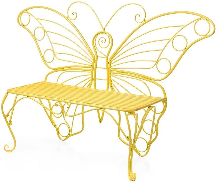 Plow & Hearth Indoor/Outdoor Butterfly Garden Bench Love Seat in Lightweight, Durable Tubular Steel with Yellow Powder-Coat Finish, 60¼
