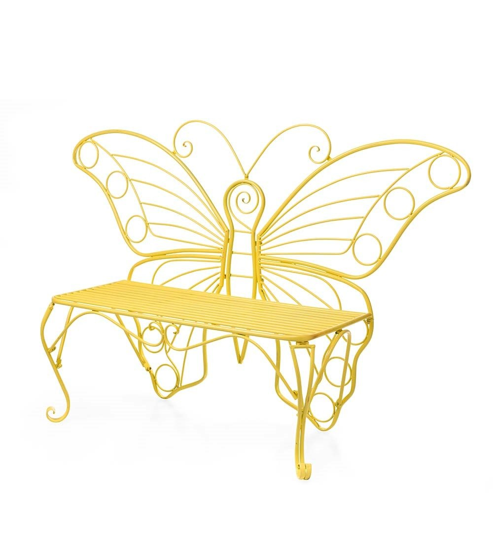 Amazon.com : Butterfly Garden Bench, Yellow Painted Metal : Garden ...