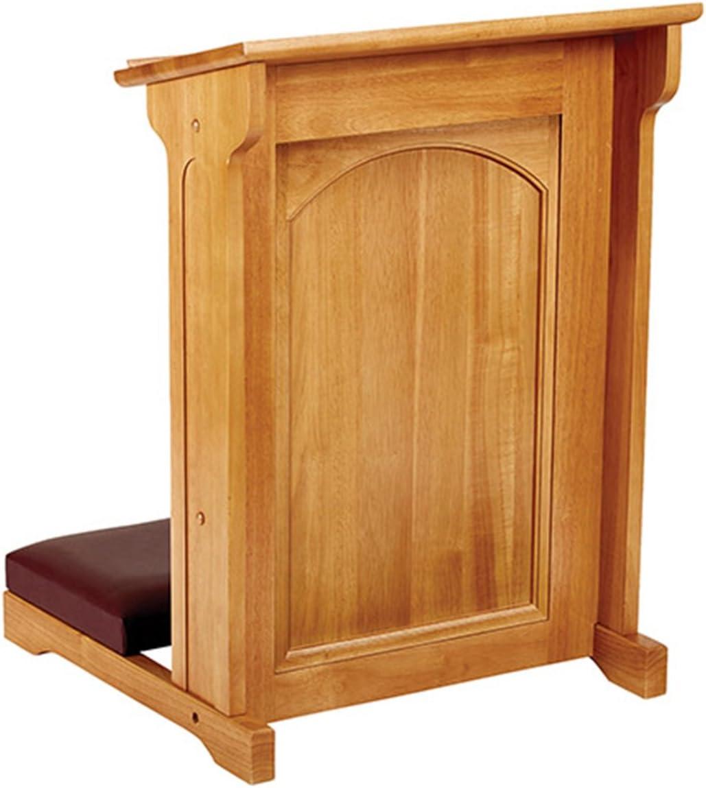 Abbey Collection Eastern Maple Hardwood Padded Church Kneeler in Medium Oak Stain Finish, 24 Inch
