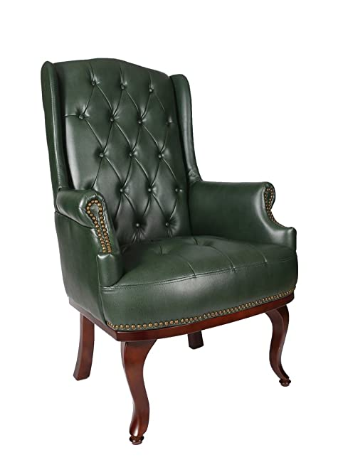 New Queen Anne Fireside High Back Wing Leather Chair Chesterfield Armchair Antique Style Green