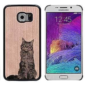 // MECELL CITY PRESENT // Cool Funda Cubierta Madera de cereza Duro PC Teléfono Estuche / Hard Case for Samsung Galaxy S6 EDGE /// Curious Cat Funny Pet Animal ///