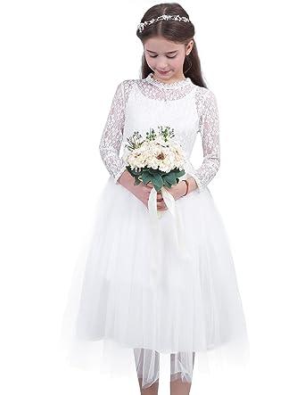 21248c430ef7d iEFiEL Vestido de Princesa Boda para Niña Dama de Honor Vestido de Fiesta  Traje de Ceremonia Encaje Vestido Floreado Flores  Amazon.es  Ropa y  accesorios