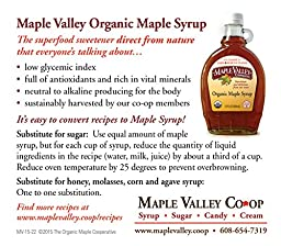Maple Valley 16.5 Oz Organic Maple Syrup - Grade A Dark Robust *Formerly Grade B* in Round Glass
