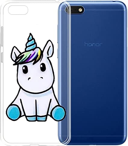 ZXLZKQ Custodia per Huawei Honor 7S/Huawei Y5 2018/Huawei Y5 Prime (2018) Cover Cover Blu Unicorno Gattino Trasparente TPU Silicone Flessibile ...
