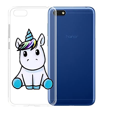 più recente 821ed 8443b ZXLZKQ Custodia per Huawei Honor 7S/Huawei Y5 2018/Huawei Y5 Prime (2018)  Cover Cover Blu Unicorno Gattino Trasparente TPU Silicone Flessibile ...