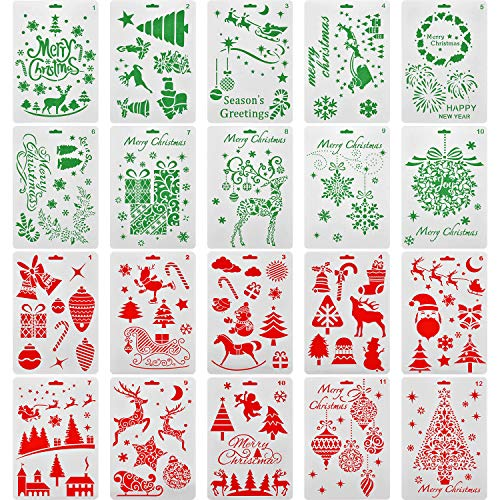 Jovitec 20 Pieces Christmas Stencils Journal Template Painting Stencil for Notebook Christmas Gift Card DIY Projects, Assorted Styles