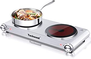 Hot Plate Electric Stove, Techwood Electric Double Burner 1800W Powerful Infrared Ceramic Double Cooktop With Adjustable Temperature Control, Compatible for All Cookwares, Indoor & Outdoor Use