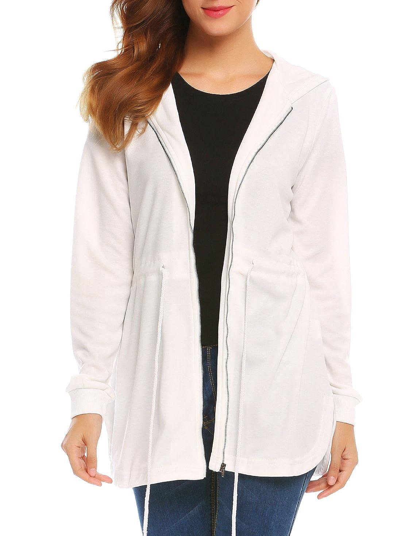 SE MIU Women's Long Sleeve Curved Hem Zip up Hooded Jacket with Drawstring mwq22240
