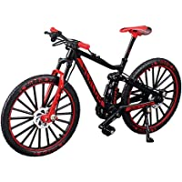 YEIBOBO Alloy Mini Downhill Mountain Bike Toy, Die-cast BMX Finger Bike Model for Collections (Black/Red)