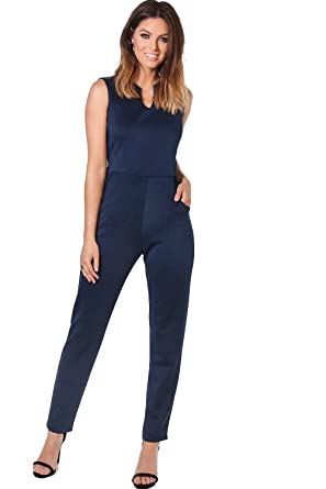 Womens Navy Nina Notch Neck Tailored Jumpsuit B071YMGGBH