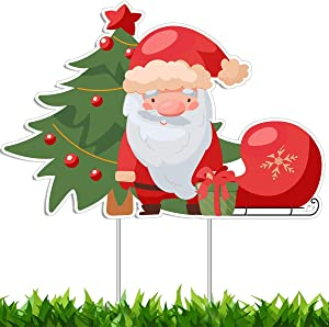 Christmas Decorations Yard Sign, Santa Claus Tree for Xmas Ornaments, Holiday Decor Outside Display Lawn Sign 18x12 inches, Party Banner with Stakes for Outdoor Patio Garden, Home Gift Present Idea