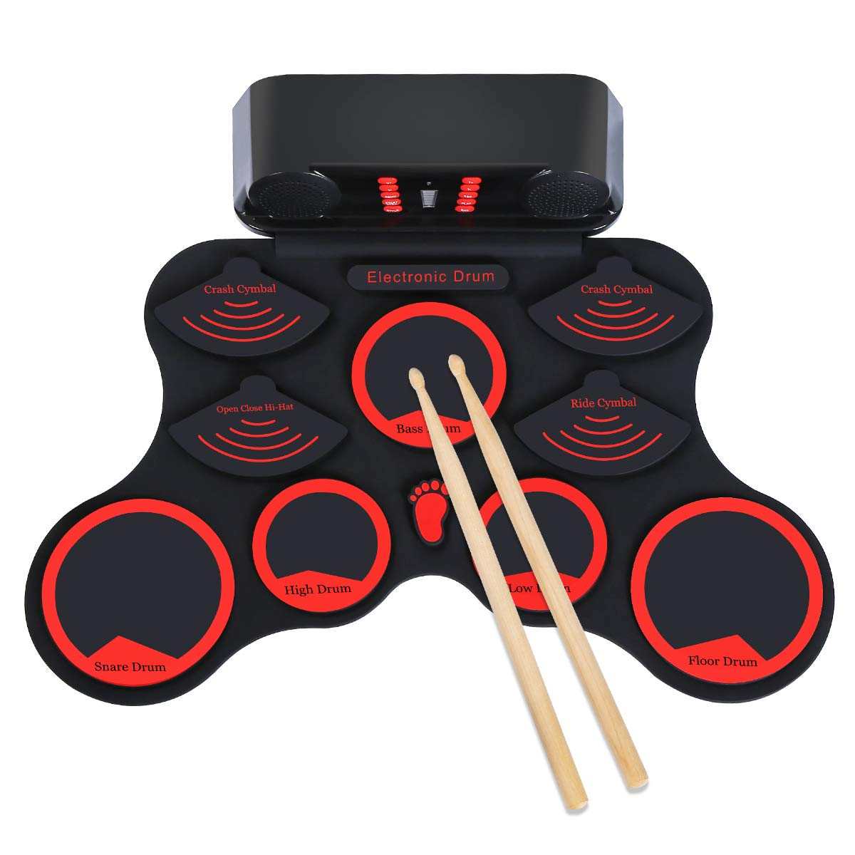 Elejolie Electronic Drum Set Roll Up Drum Practice Kit Portable Rechargeable Drum Kit with Headphone Jack Built-in Dual Speaker Drum Pedals Drum Sticks Children Beginners Gift for Kids