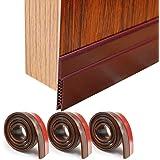 """HORLIMER 3 Pack Door Draft Stoppers Brown Under Door Sweep Seal Strip for Interior & Exterior Doors, 1.8"""" W x 39.3"""" L Silicon"""
