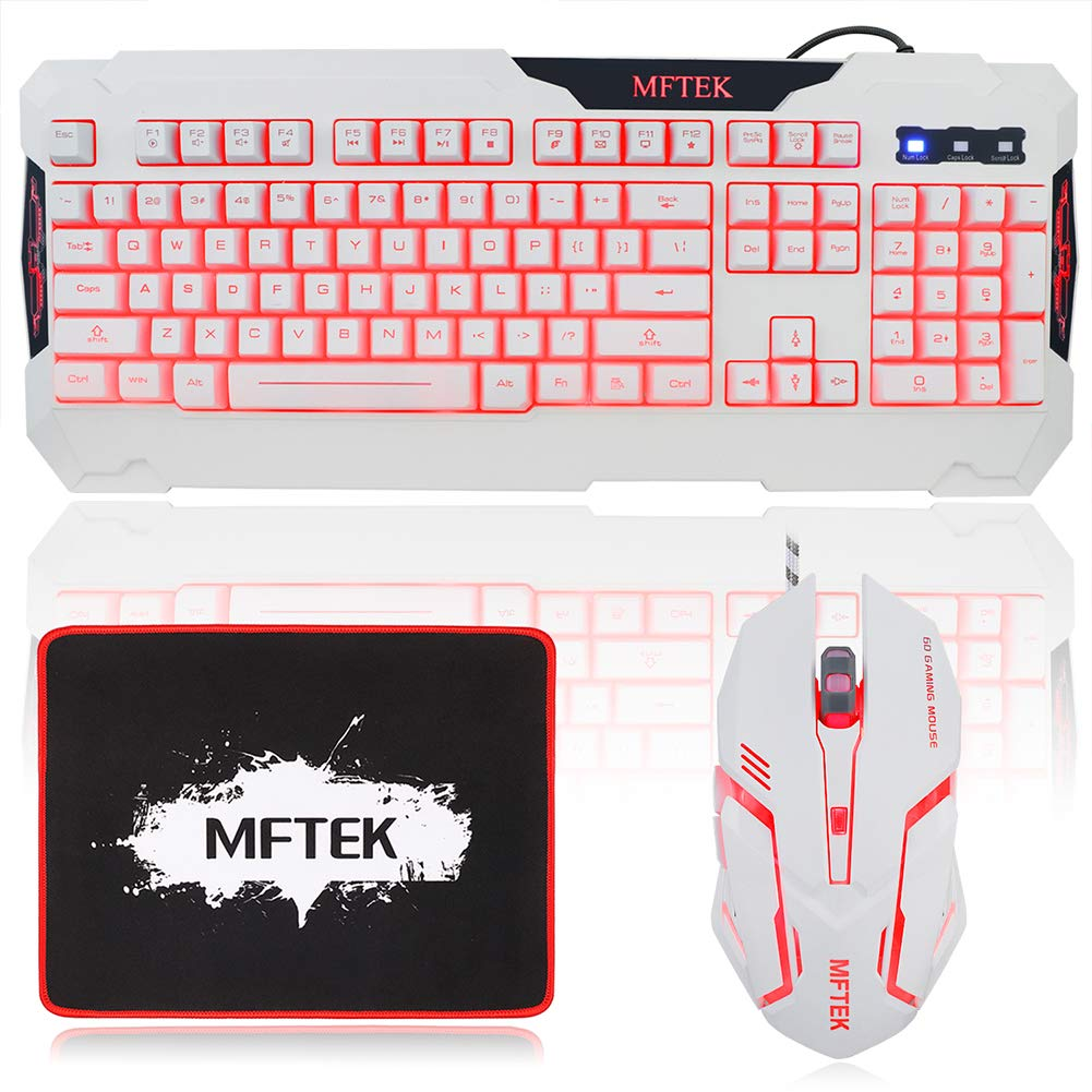 MFTEK White Gaming Keyboard and Mouse Combo, USB Wired 104 Keys Keyboard, 3 Colors Red Blue Purple Backlit Gaming Keyboard, 6 Button Mouse Mouse Pad for Computer PC Gamer Office