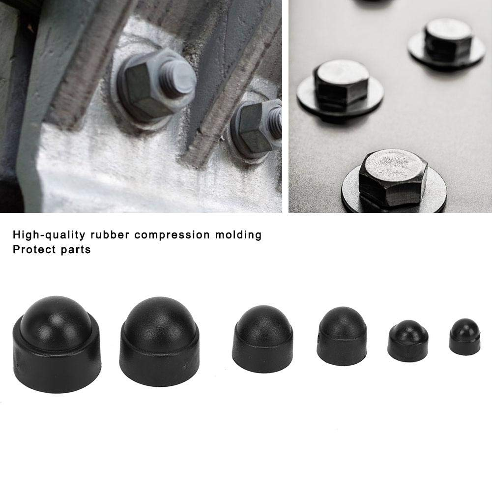 Black M4 M5 M6 M8 M10 M12 145PCS Hex Cap Nuts Rubber Protective Fastener Bolt Cap