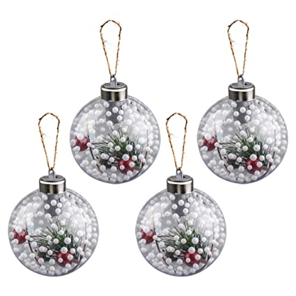 Fonxian Clear Plastic Christmas Ball Ornaments Shatterproof with LED Light  up Hanging Decor for Xmas Tree - Amazon.com: Fonxian Clear Plastic Christmas Ball Ornaments